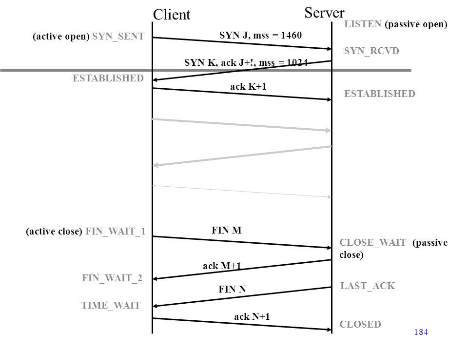 184 Client Server (active open) SYN_SENT ESTABLISHED LISTEN (passive open) SYN_RCVD ESTABLISHED (active close) FIN_WAIT_1 FIN_WAIT_2 TIME_WAIT CLOSE_W