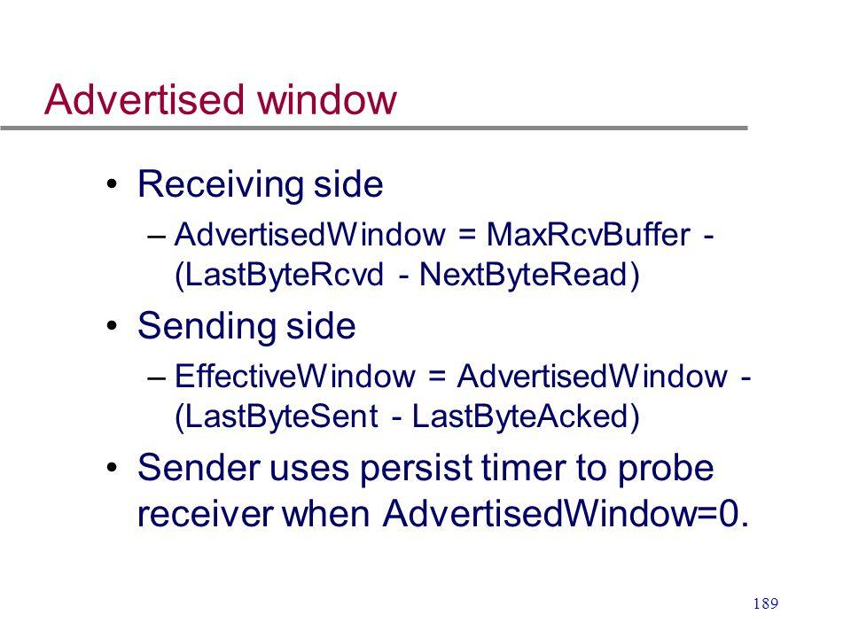 189 Advertised window Receiving side –AdvertisedWindow = MaxRcvBuffer - (LastByteRcvd - NextByteRead) Sending side –EffectiveWindow = AdvertisedWindow