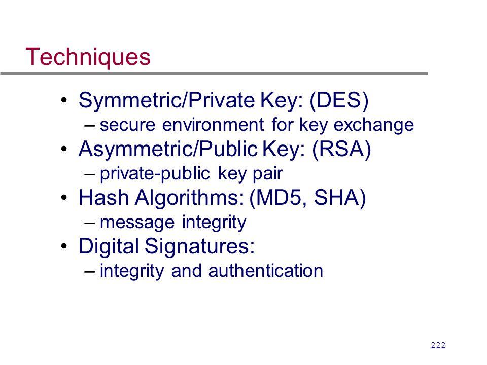 222 Techniques Symmetric/Private Key: (DES) –secure environment for key exchange Asymmetric/Public Key: (RSA) –private-public key pair Hash Algorithms