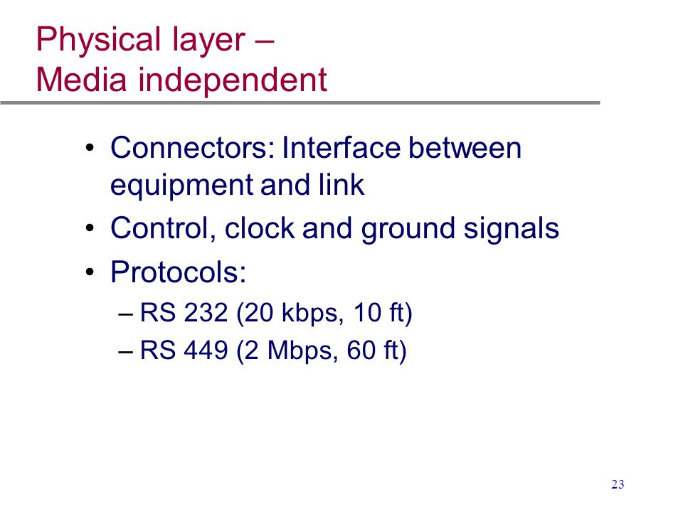 23 Physical layer – Media independent Connectors: Interface between equipment and link Control, clock and ground signals Protocols: –RS 232 (20 kbps,