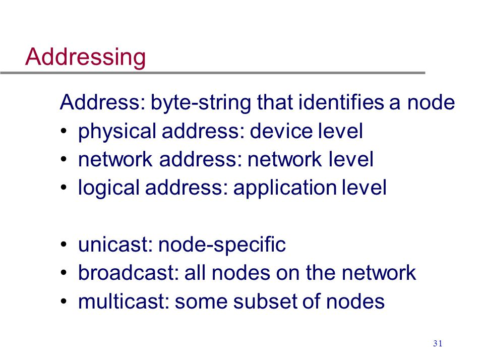 31 Addressing Address: byte-string that identifies a node physical address: device level network address: network level logical address: application l