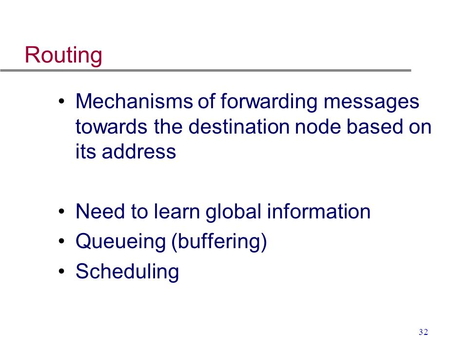 32 Routing Mechanisms of forwarding messages towards the destination node based on its address Need to learn global information Queueing (buffering) S