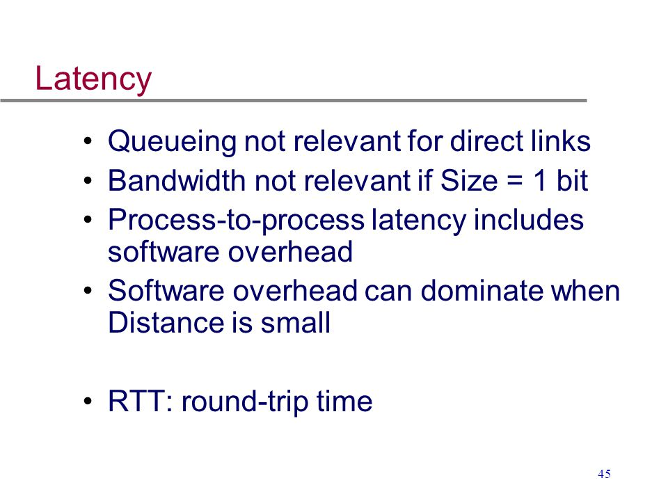 45 Latency Queueing not relevant for direct links Bandwidth not relevant if Size = 1 bit Process-to-process latency includes software overhead Softwar
