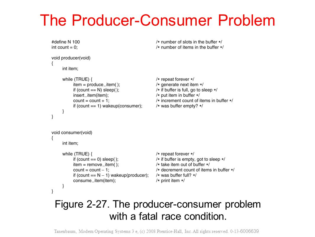 Figure 2-27. The producer-consumer problem with a fatal race condition. The Producer-Consumer Problem Tanenbaum, Modern Operating Systems 3 e, (c) 200
