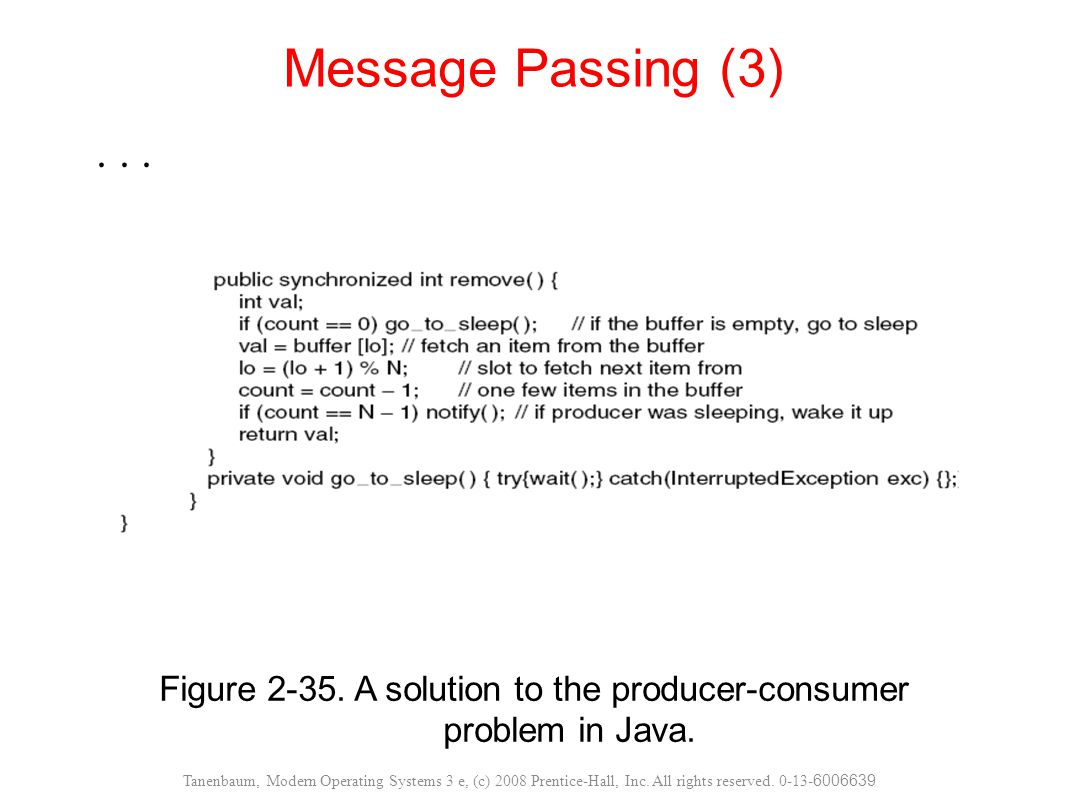 Figure 2-35. A solution to the producer-consumer problem in Java. Message Passing (3) Tanenbaum, Modern Operating Systems 3 e, (c) 2008 Prentice-Hall,