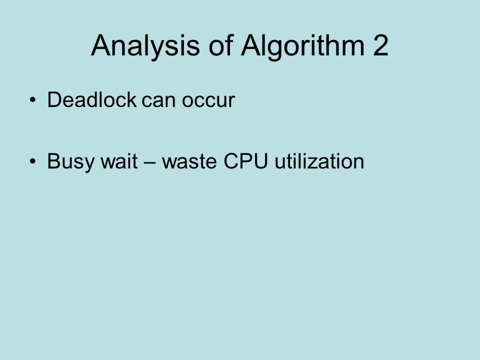 Analysis of Algorithm 2 Deadlock can occur Busy wait – waste CPU utilization