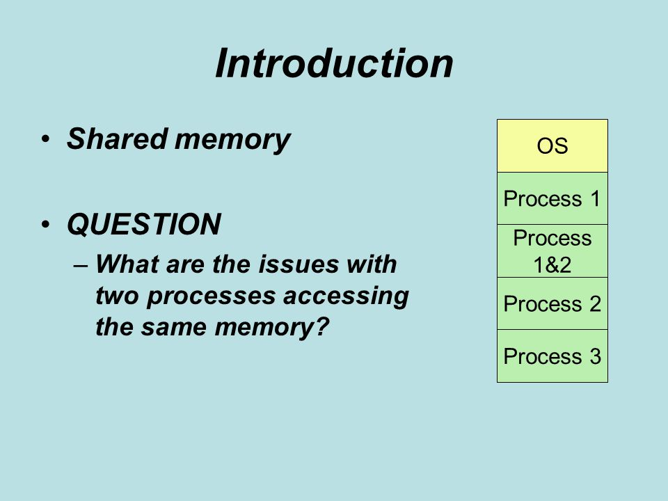 Introduction Shared memory QUESTION –What are the issues with two processes accessing the same memory.