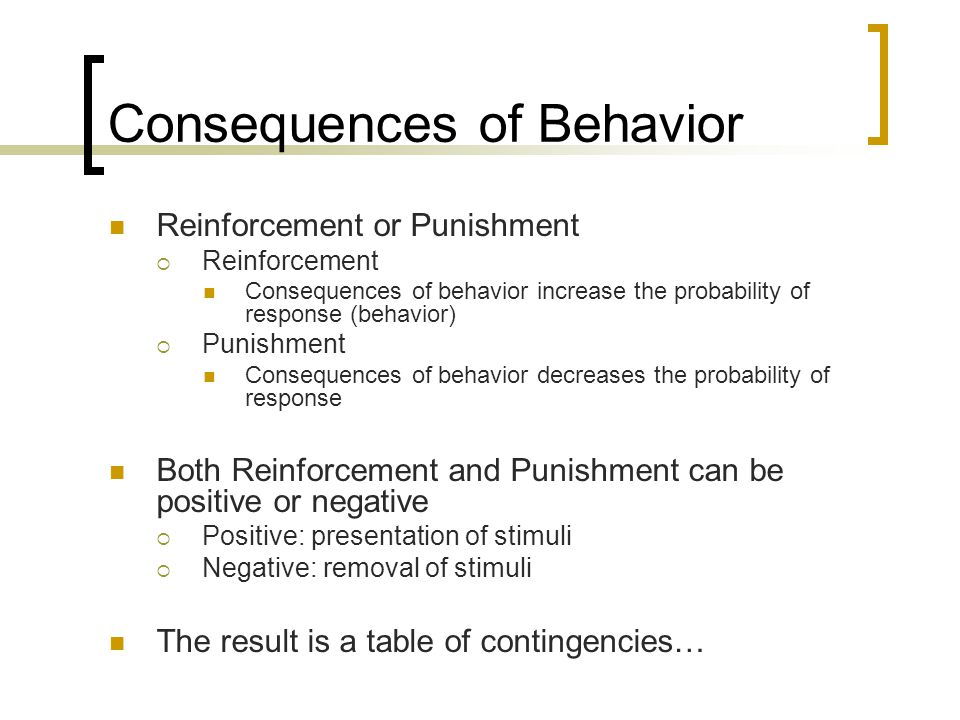 Consequences of Behavior Reinforcement or Punishment  Reinforcement Consequences of behavior increase the probability of response (behavior)  Punish