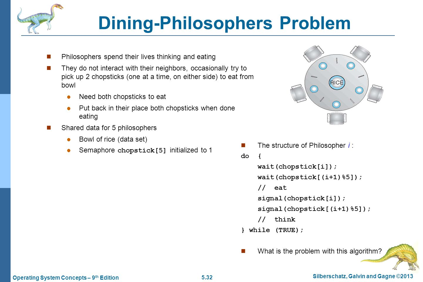 5.32 Silberschatz, Galvin and Gagne ©2013 Operating System Concepts – 9 th Edition Dining-Philosophers Problem Philosophers spend their lives thinking and eating They do not interact with their neighbors, occasionally try to pick up 2 chopsticks (one at a time, on either side) to eat from bowl Need both chopsticks to eat Put back in their place both chopsticks when done eating Shared data for 5 philosophers Bowl of rice (data set) Semaphore chopstick[5] initialized to 1 The structure of Philosopher i : do { wait(chopstick[i]); wait(chopstick[(i+1)%5]); // eat signal(chopstick[i]); signal(chopstick[(i+1)%5]); // think } while (TRUE); What is the problem with this algorithm?