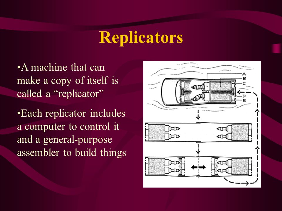 Replicators A machine that can make a copy of itself is called a replicator Each replicator includes a computer to control it and a general-purpose assembler to build things