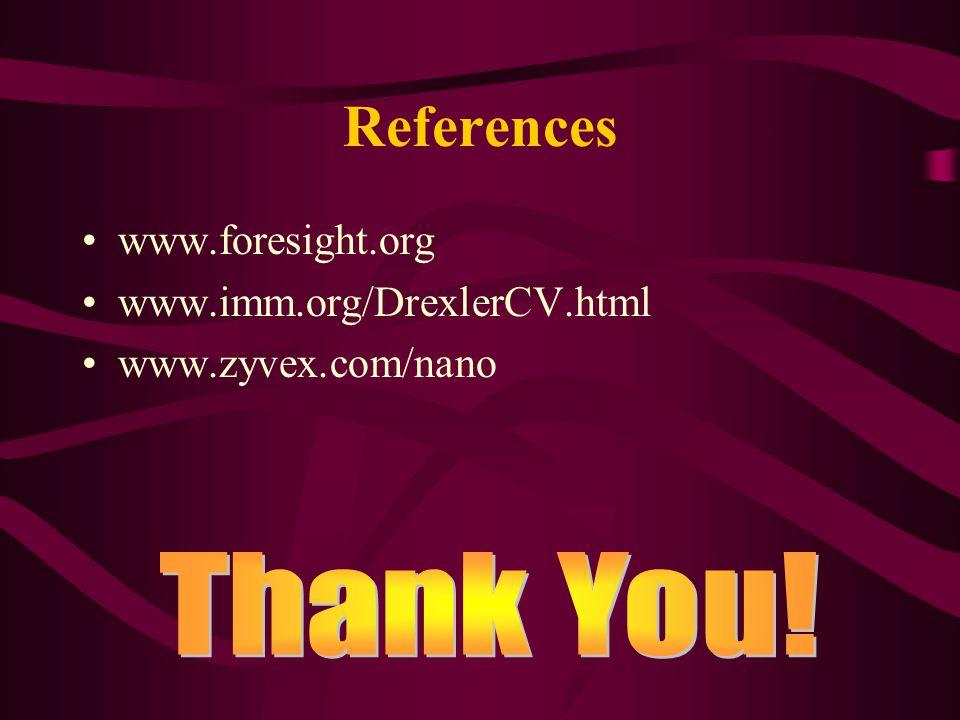References www.foresight.org www.imm.org/DrexlerCV.html www.zyvex.com/nano