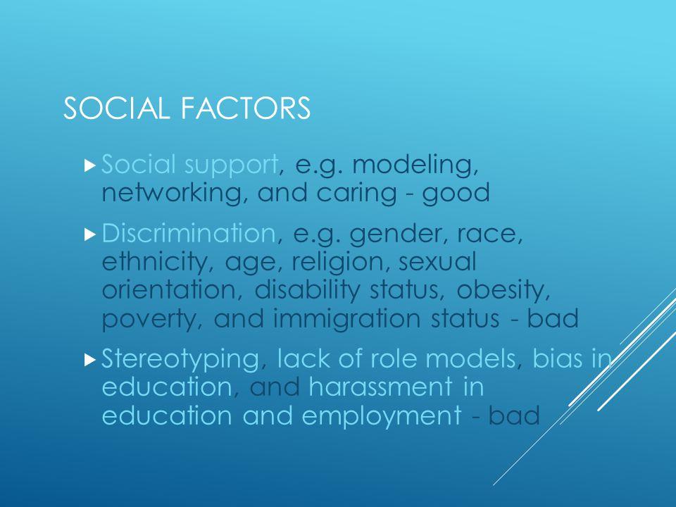 SOCIAL FACTORS  Social support, e.g.