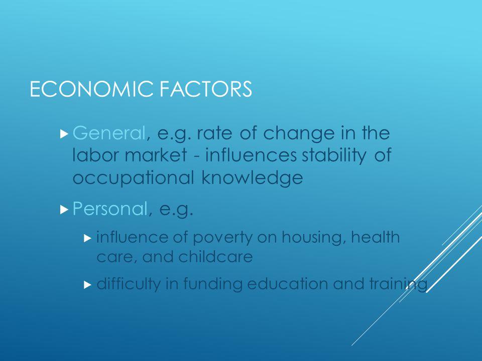 ECONOMIC FACTORS  General, e.g.