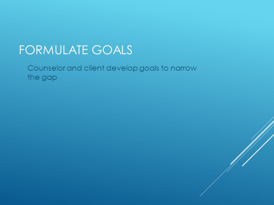 FORMULATE GOALS Counselor and client develop goals to narrow the gap