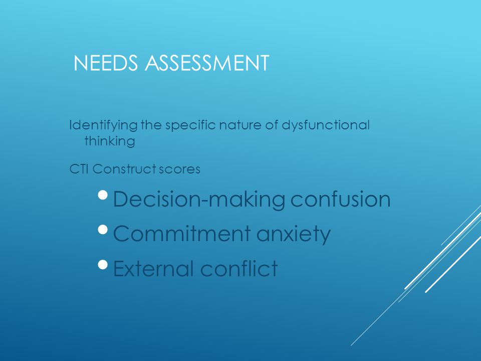 NEEDS ASSESSMENT Identifying the specific nature of dysfunctional thinking CTI Construct scores Decision-making confusion Commitment anxiety External conflict