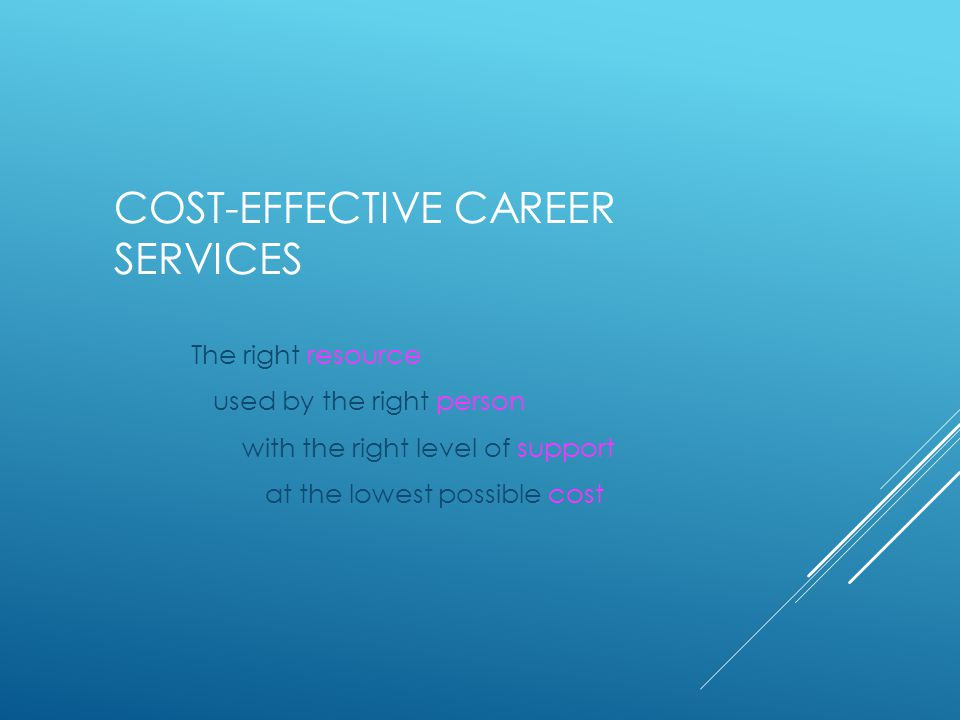 COST-EFFECTIVE CAREER SERVICES The right resource used by the right person with the right level of support at the lowest possible cost