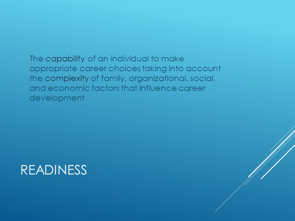 CAPABILITY Cognitive and affective capacity to engage in effective career choice behaviors