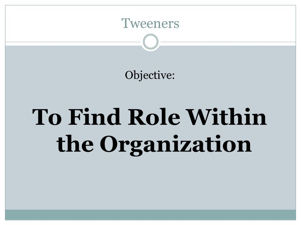 Tweeners Objective: To Find Role Within the Organization