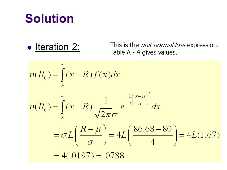 Solution Iteration 2: This is the unit normal loss expression. Table A - 4 gives values.