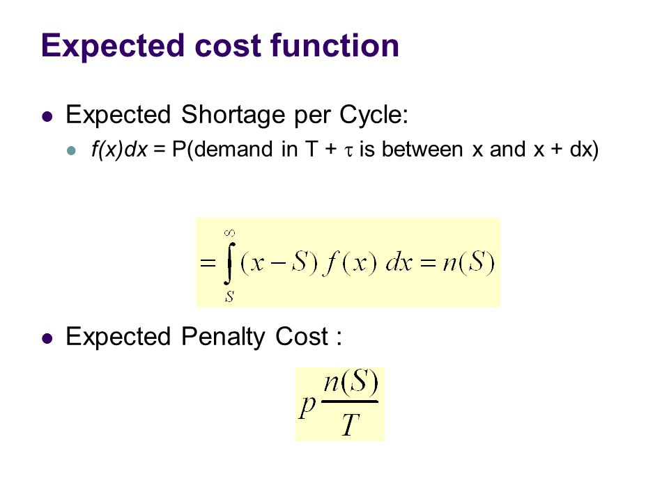 Expected Shortage per Cycle: f(x)dx = P(demand in T +  is between x and x + dx) Expected Penalty Cost :