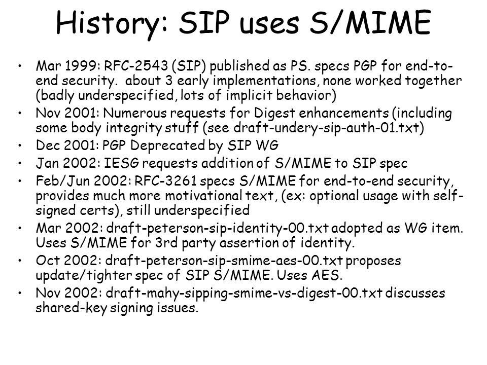 History: SIP uses S/MIME Mar 1999: RFC-2543 (SIP) published as PS.
