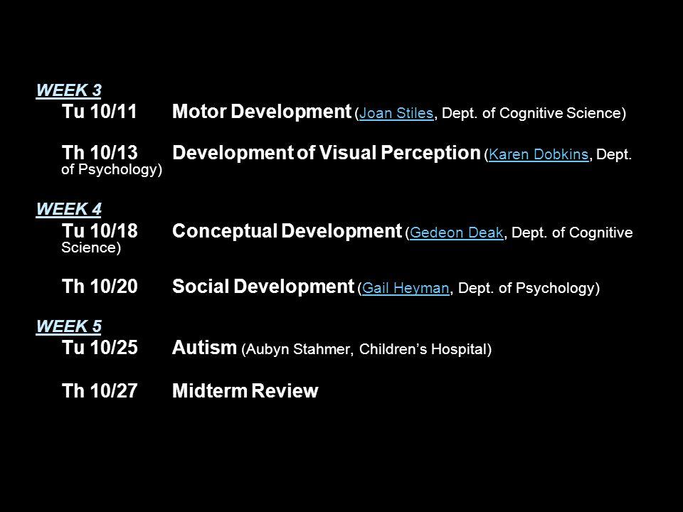 WEEK 3 Tu 10/11Motor Development (Joan Stiles, Dept.