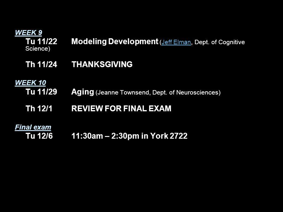 WEEK 9 Tu 11/22Modeling Development (Jeff Elman, Dept.