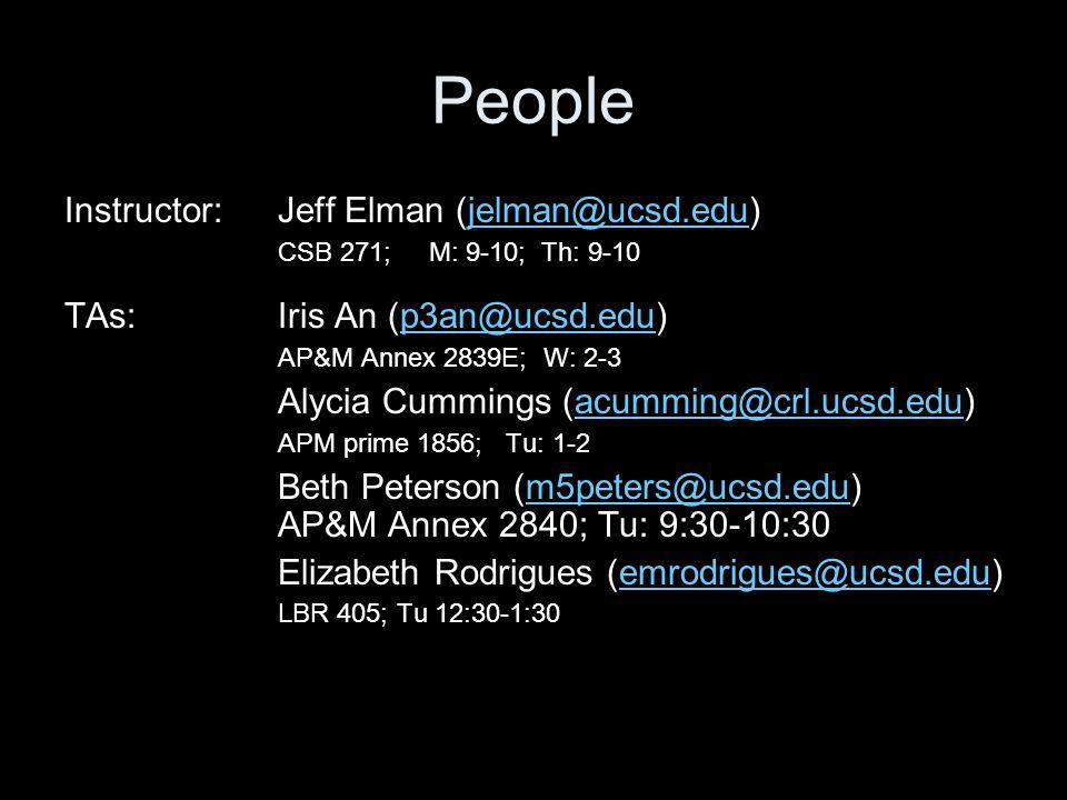 People Instructor: Jeff Elman (jelman@ucsd.edu)jelman@ucsd.edu CSB 271; M: 9-10; Th: 9-10 TAs:Iris An (p3an@ucsd.edu)p3an@ucsd.edu AP&M Annex 2839E; W: 2-3 Alycia Cummings (acumming@crl.ucsd.edu)acumming@crl.ucsd.edu APM prime 1856; Tu: 1-2 Beth Peterson (m5peters@ucsd.edu)m5peters@ucsd.edu AP&M Annex 2840; Tu: 9:30-10:30 Elizabeth Rodrigues (emrodrigues@ucsd.edu)emrodrigues@ucsd.edu LBR 405; Tu 12:30-1:30
