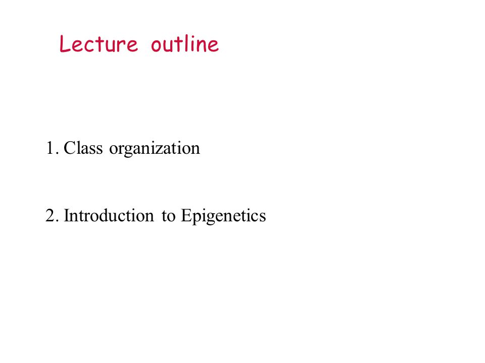 Lecture outline 1.Class organization 2.Introduction to Epigenetics