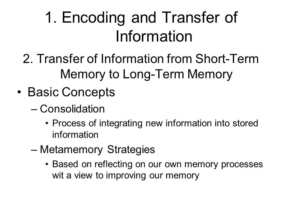 1. Encoding and Transfer of Information 2. Transfer of Information from Short-Term Memory to Long-Term Memory Basic Concepts –Consolidation Process of