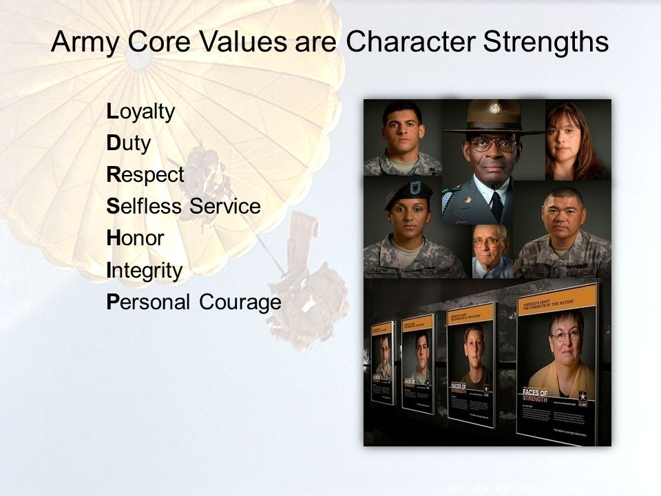 Army Core Values are Character Strengths Loyalty Duty Respect Selfless Service Honor Integrity Personal Courage 12 POC: ASC MRT, DSN 793-4847