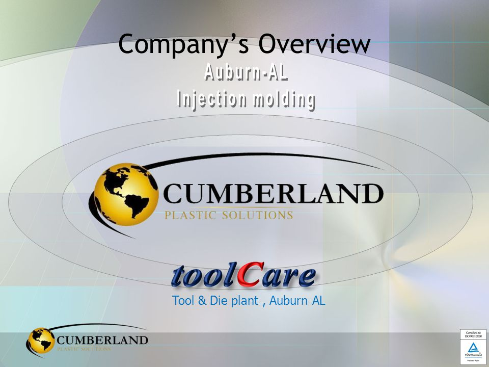 Cumberland History… Founded in 2006,Privately Held Company Opened New Facility in Auburn, AL 2006 Established ToolCare in Auburn, AL 2007 Earned ISO TS 16949 Certification Sept.