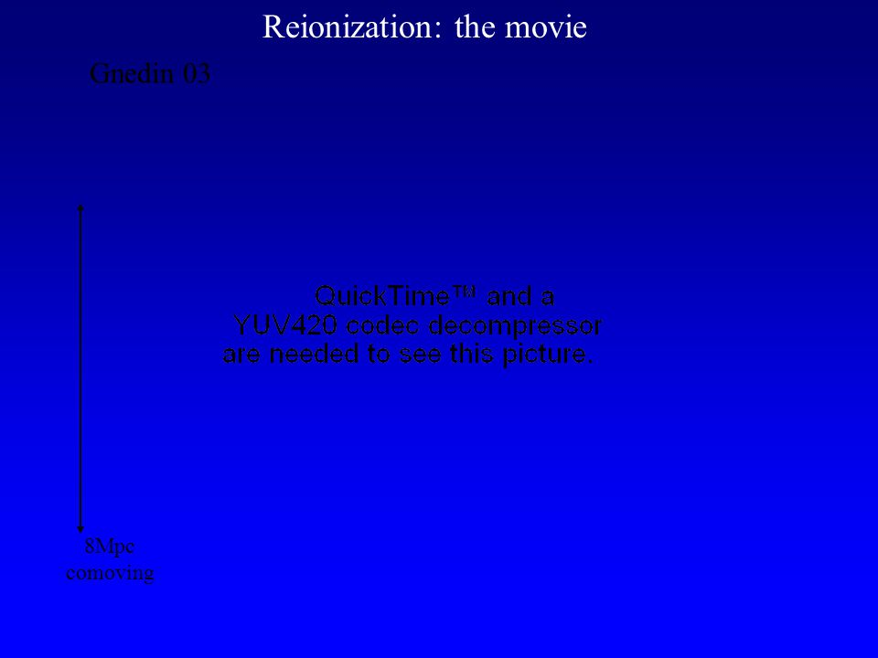 Gnedin 03 Reionization: the movie 8Mpc comoving