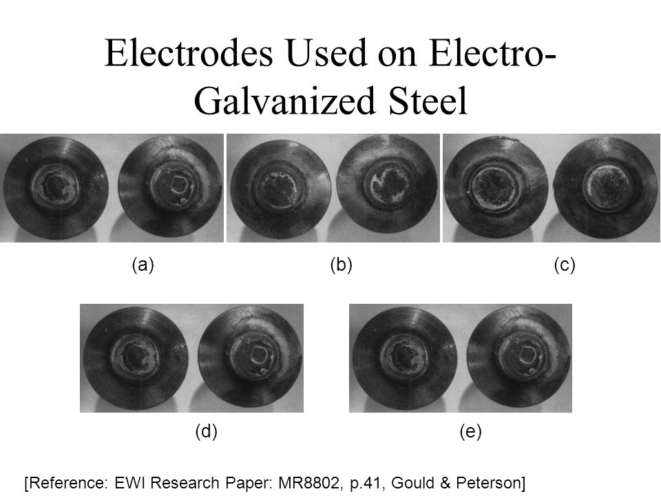 Electrodes Used on Electro- Galvanized Steel [Reference: EWI Research Paper: MR8802, p.41, Gould & Peterson] (a)(b) (c) (d)(e)