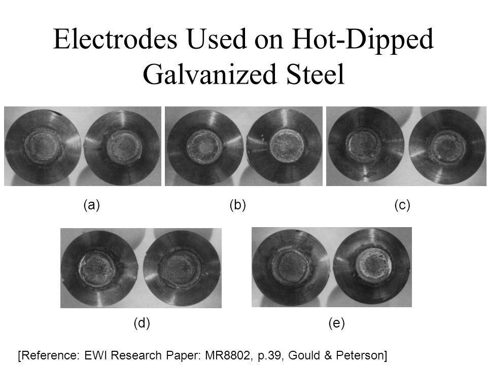 Electrodes Used on Hot-Dipped Galvanized Steel [Reference: EWI Research Paper: MR8802, p.39, Gould & Peterson] (a)(b) (c) (d)(e)