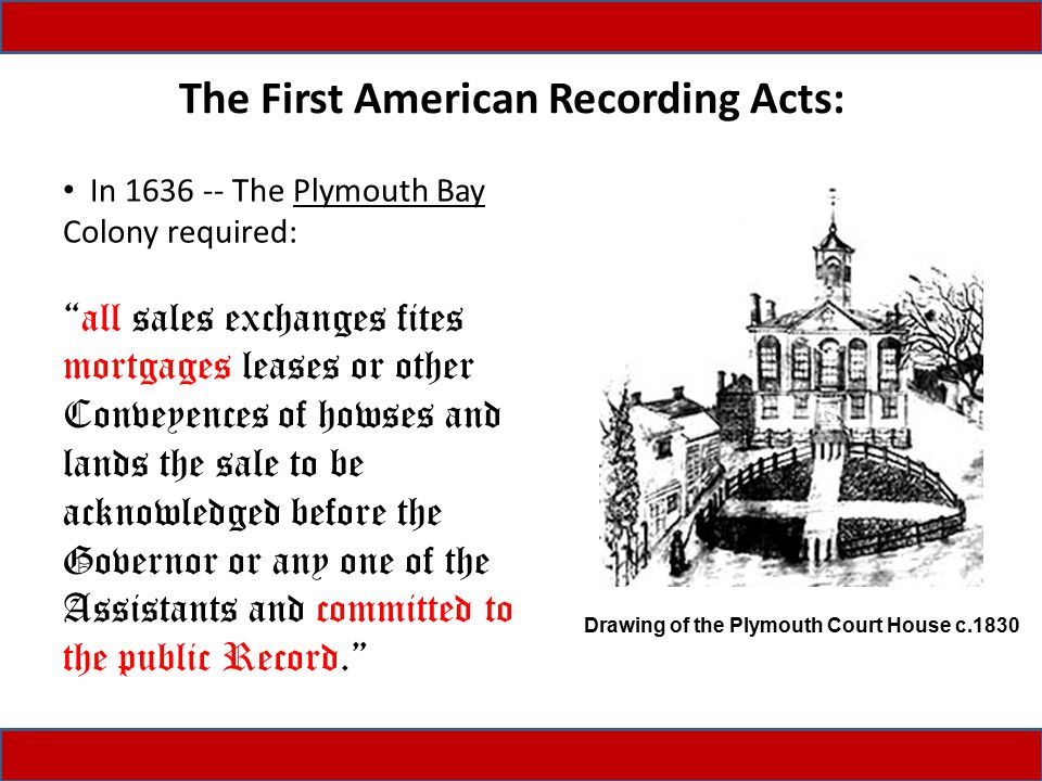 """The First American Recording Acts: In 1636 -- The Plymouth Bay Colony required: """"all sales exchanges fites mortgages leases or other Conveyences of ho"""