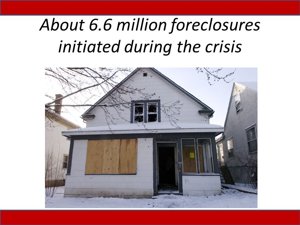 About 6.6 million foreclosures initiated during the crisis