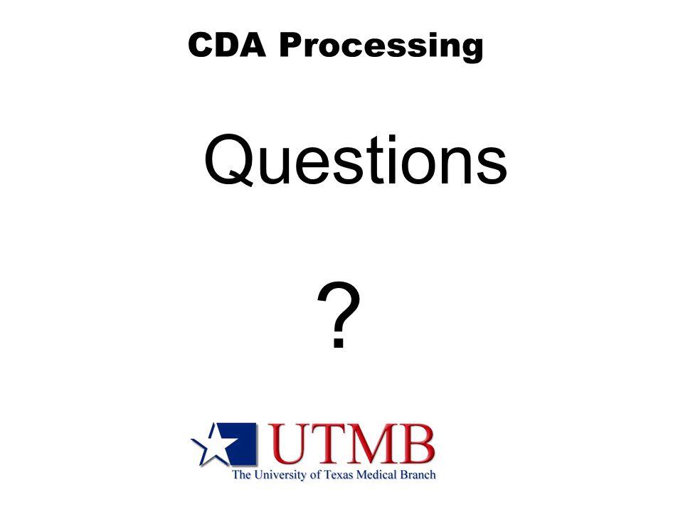 CDA Processing Questions