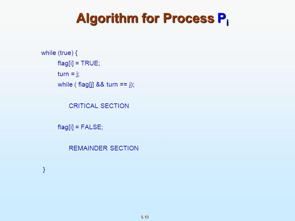 6.10 Algorithm for Process P i while (true) { flag[i] = TRUE; turn = j; while ( flag[j] && turn == j); CRITICAL SECTION flag[i] = FALSE; REMAINDER SEC
