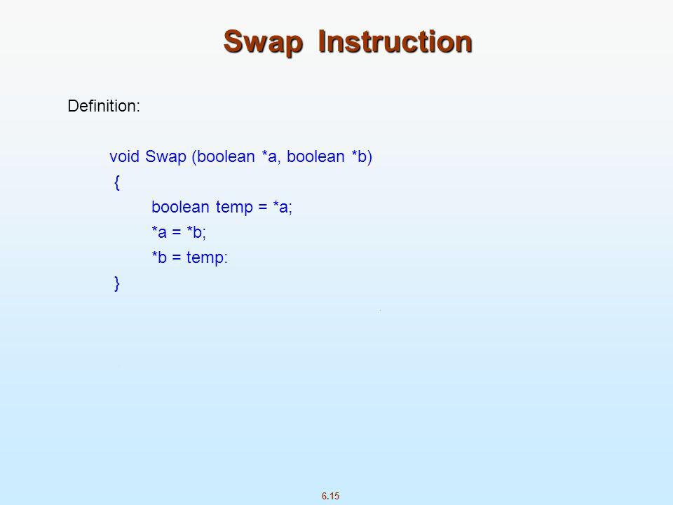 6.15 Swap Instruction Definition: void Swap (boolean *a, boolean *b) { boolean temp = *a; *a = *b; *b = temp: }