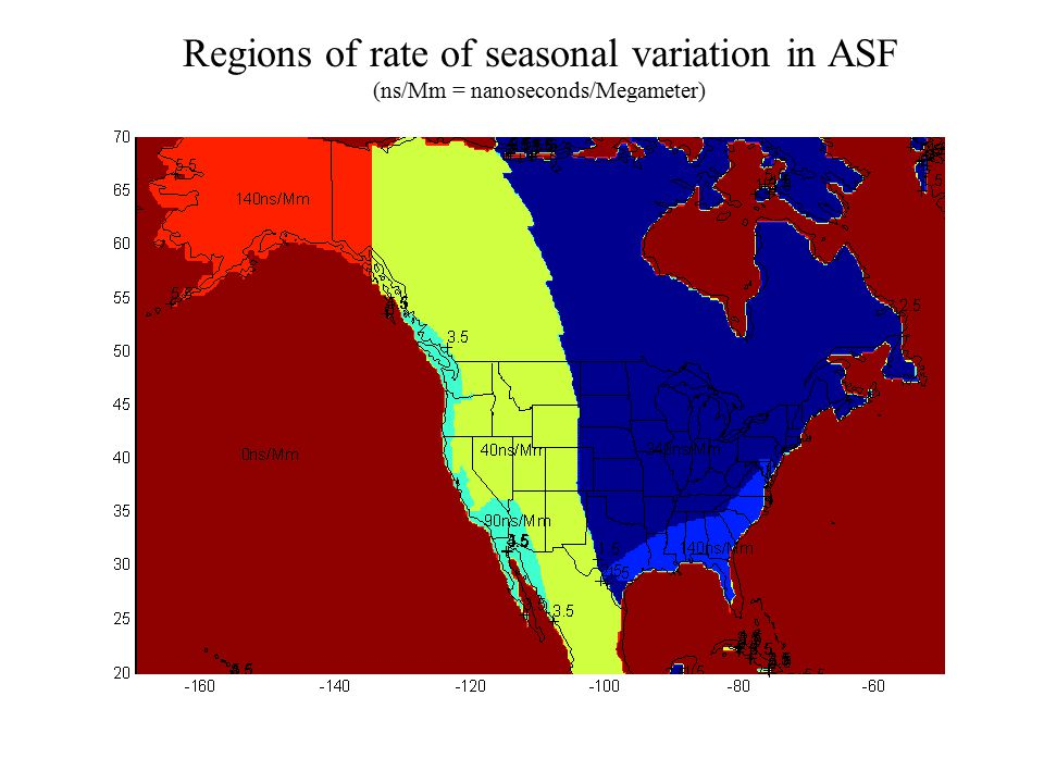 Regions of rate of seasonal variation in ASF (ns/Mm = nanoseconds/Megameter)