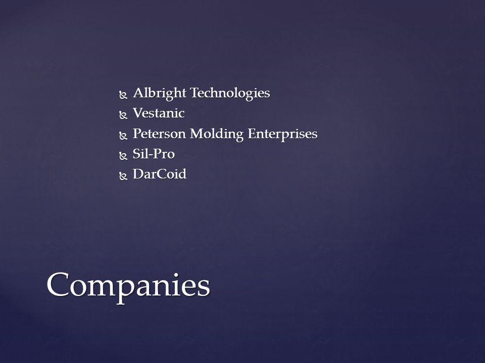  Albright Technologies  Vestanic  Peterson Molding Enterprises  Sil-Pro  DarCoid Companies