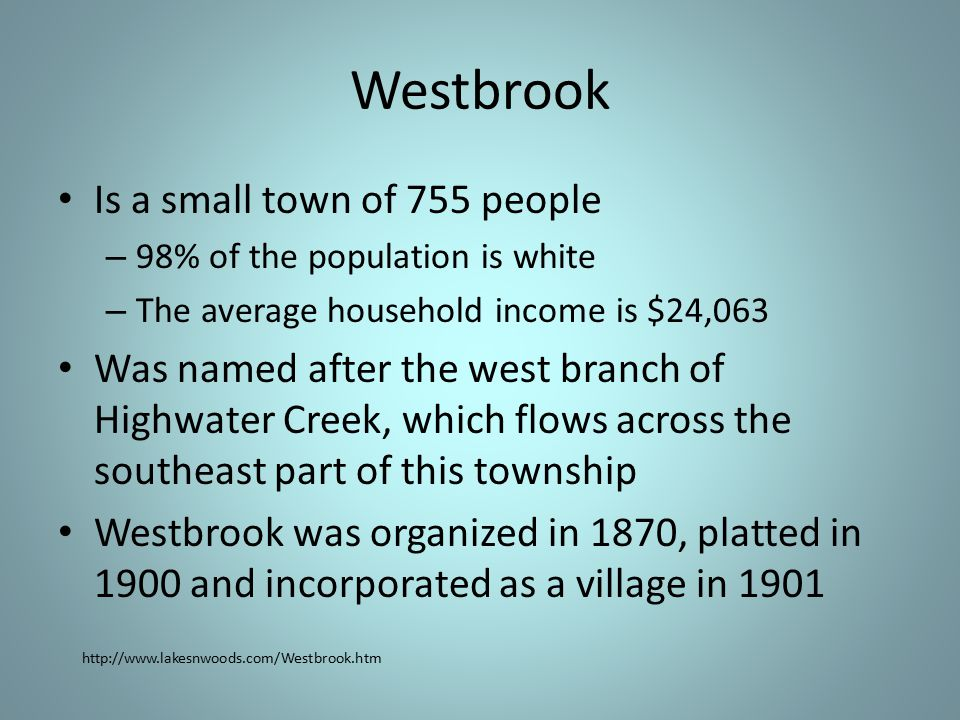 Westbrook Is a small town of 755 people – 98% of the population is white – The average household income is $24,063 Was named after the west branch of Highwater Creek, which flows across the southeast part of this township Westbrook was organized in 1870, platted in 1900 and incorporated as a village in 1901 http://www.lakesnwoods.com/Westbrook.htm