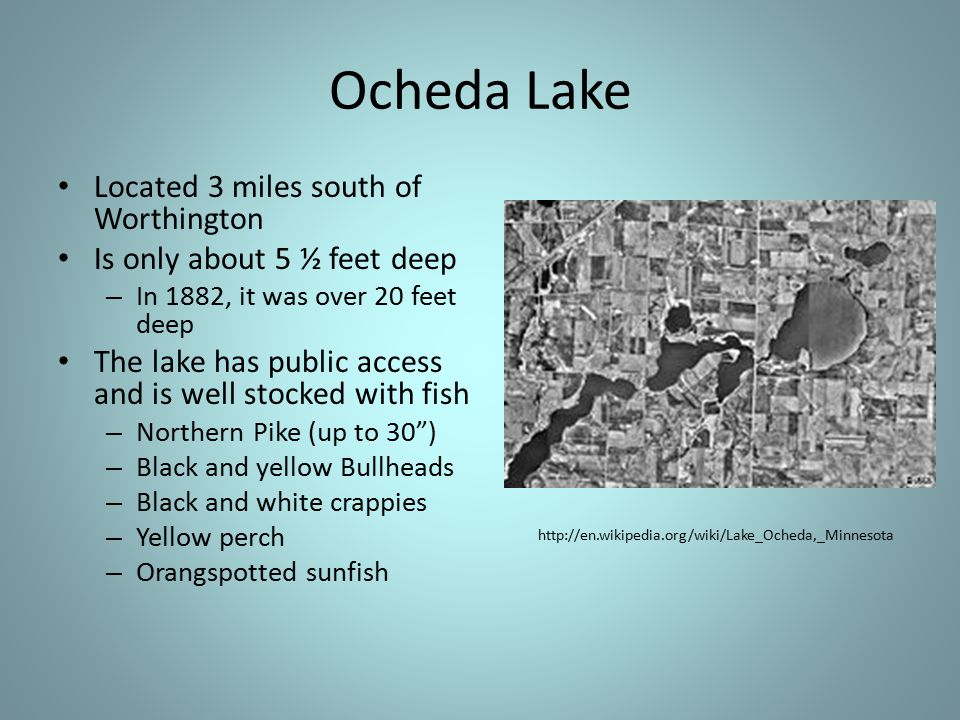 Ocheda Lake Located 3 miles south of Worthington Is only about 5 ½ feet deep – In 1882, it was over 20 feet deep The lake has public access and is well stocked with fish – Northern Pike (up to 30 ) – Black and yellow Bullheads – Black and white crappies – Yellow perch – Orangspotted sunfish http://en.wikipedia.org/wiki/Lake_Ocheda,_Minnesota