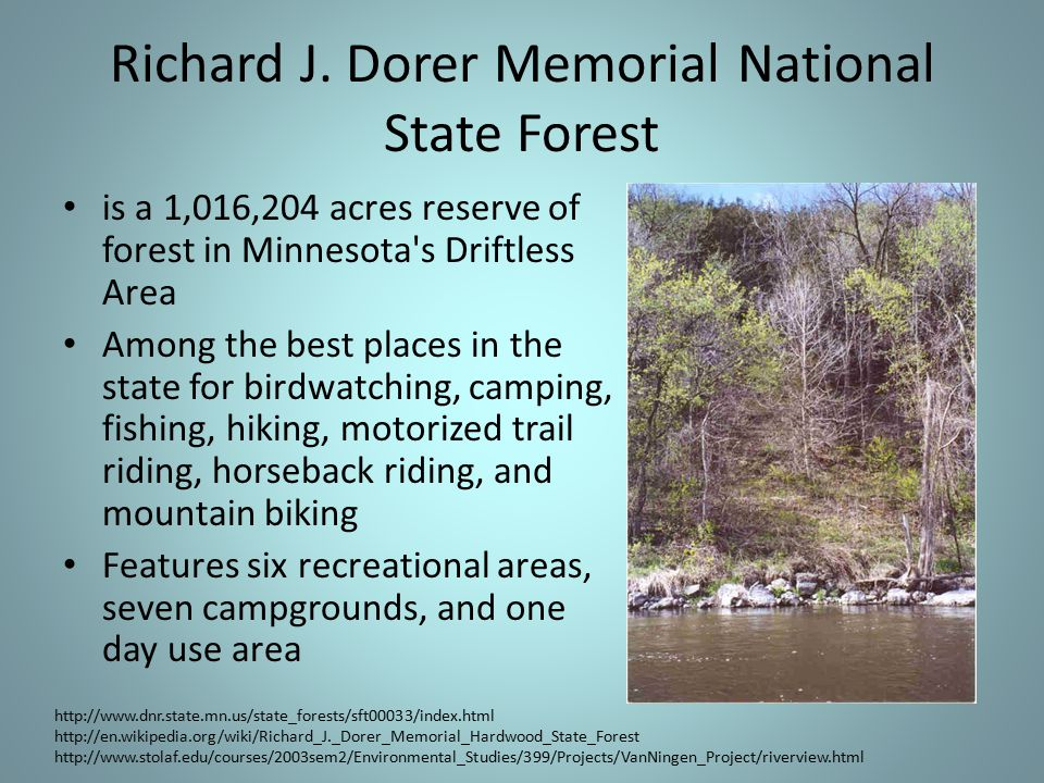 Richard J. Dorer Memorial National State Forest is a 1,016,204 acres reserve of forest in Minnesota's Driftless Area Among the best places in the stat