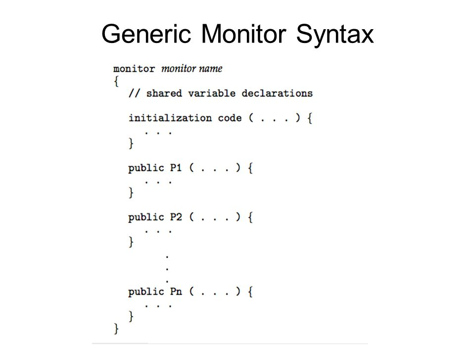 Generic Monitor Syntax