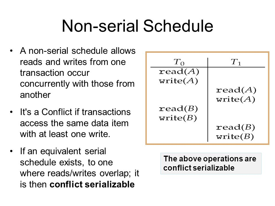 Non-serial Schedule A non-serial schedule allows reads and writes from one transaction occur concurrently with those from another It s a Conflict if transactions access the same data item with at least one write.