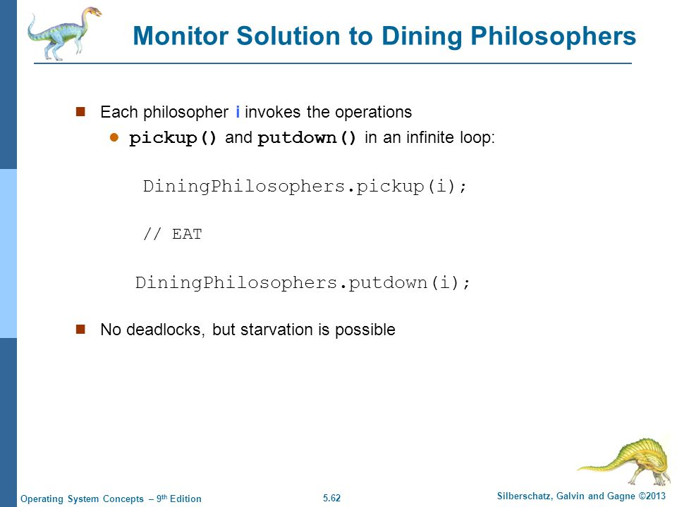 5.62 Silberschatz, Galvin and Gagne ©2013 Operating System Concepts – 9 th Edition Each philosopher i invokes the operations pickup() and putdown() in an infinite loop: DiningPhilosophers.pickup(i) ; // EAT DiningPhilosophers.putdown(i) ; No deadlocks, but starvation is possible Monitor Solution to Dining Philosophers