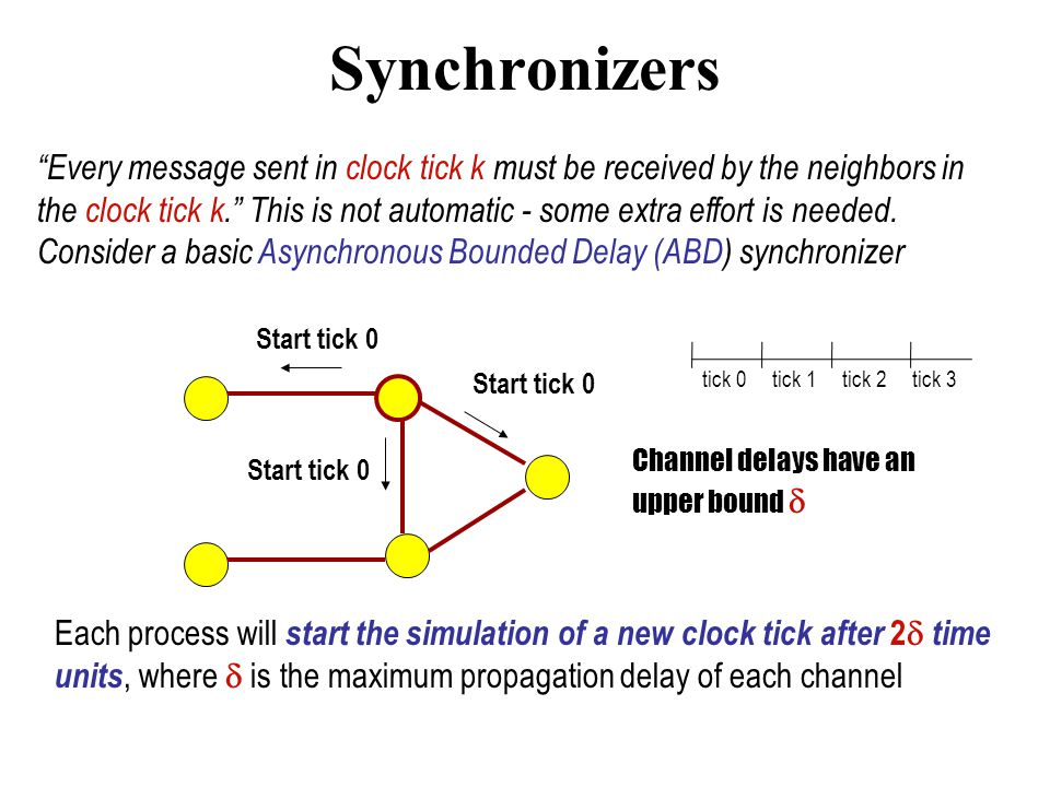 Synchronizers Every message sent in clock tick k must be received by the neighbors in the clock tick k. This is not automatic - some extra effort is needed.