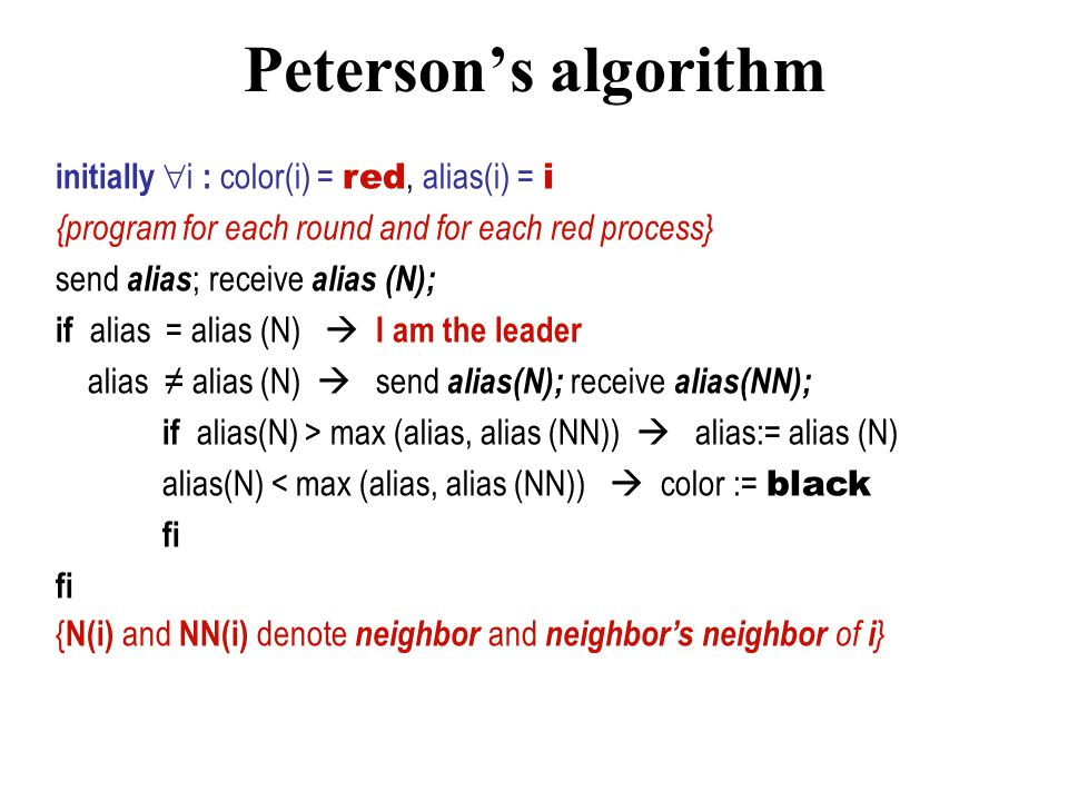 Peterson's algorithm Round-based.Finds maxima on a unidirectional ring using O(n log n) messages.